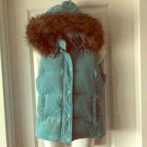 GAP cord down-filled vest faux fur removable hood